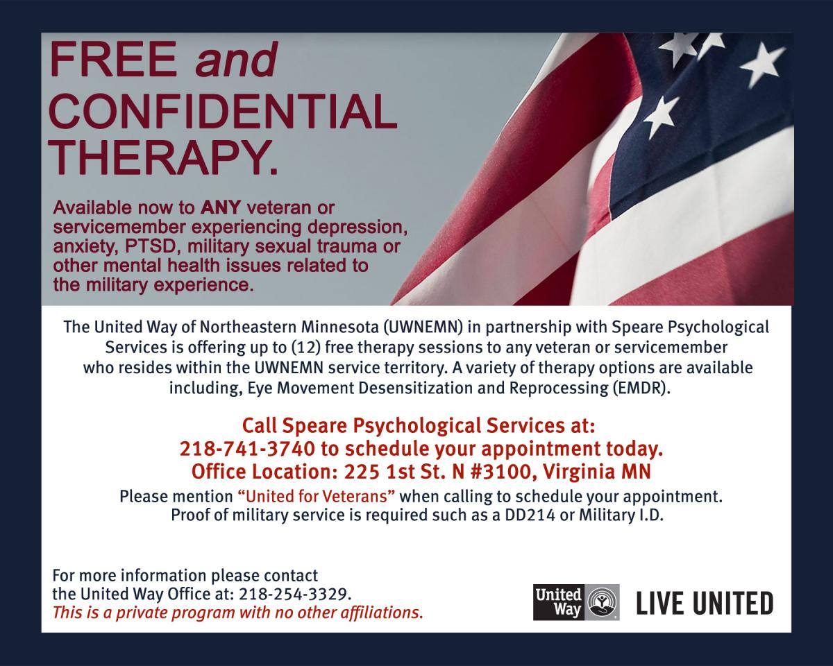 Free Therapy for Veterans | United Way of Northeastern Minnesota