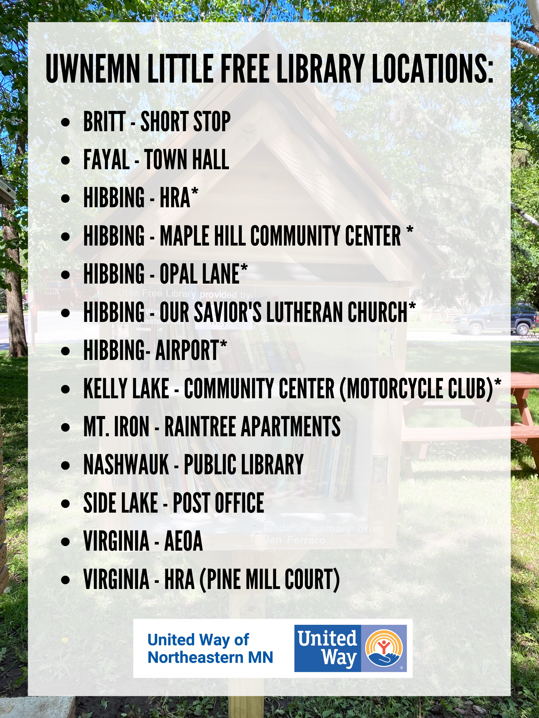 Virginia AEOA, Virginia Pine Mill Court, Mt. Iron Raintree, Nahswauk High School, Side Lake Post Office, Britt Short Stop, Fayal Town Hall, Hibbing HRA*, Maple Hill Community Center*, Kelly Lake Community Center*, Opal Lane*, Our Savior's Lutheran Church Hibbing*, and Hibbing Airport*
