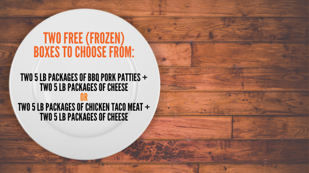 Two free packages of frozen food available for pickup 7/22 at UWNEMN: bbq pork or chicken tacos