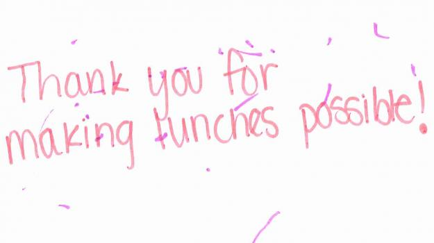 thank you note from Meet Up and Chow Down child